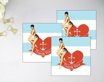 Thank You Tags - Thank You Cards - Nautical Tags - Beach Tags - Pin Up Girl Tags - Heart Tags - Heart Thank You Tags - Digital Download
