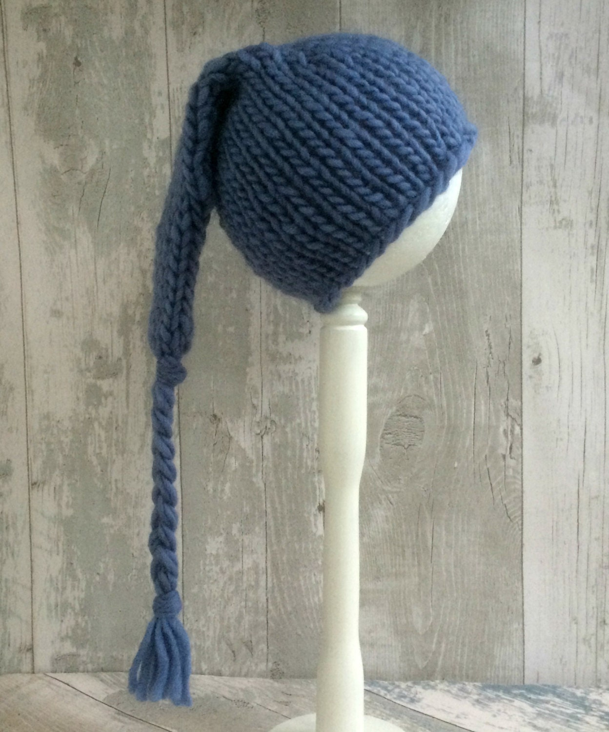 Knitting Pattern For Hat With Long Tail : Blue Knit Baby Boy Hat Long Tail Hat Hand Knit by SnugCreations