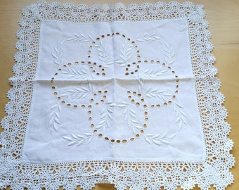 French antique embroidered white linen tray cloth,table center , hand made embroidered, hand made lace crochet doily