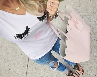Eyelashes & Lips Women's Graphic Tee | V-Neck Tee | Beauty | Make-Up | Gift | Trendy | BFF | Best Friend