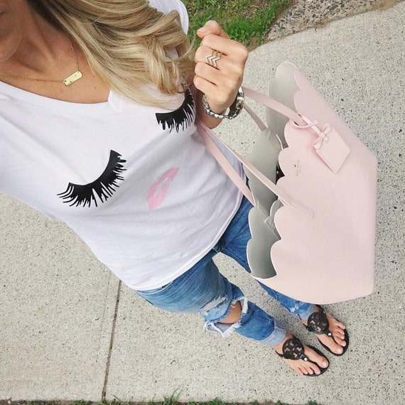 Cute eyelash and lips tee