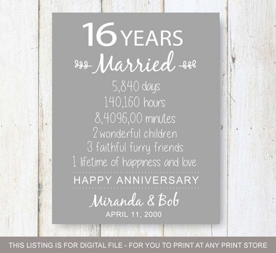 What Is The 16th Wedding Anniversary Gift: 16th Anniversary Gift 16 Years Of Wedding Anniversary