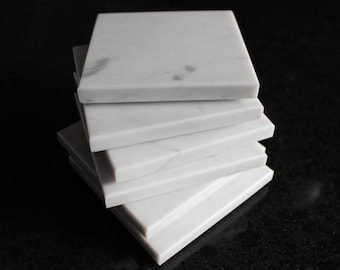 Coasters Set of Six From Natural Stone Carrara White Gray Marble