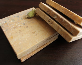 Stone Coasters Set Of Six From Natural Yellow Travertine Stone