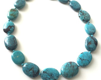 Blue Turquoise Necklace, Natural Turquoise Necklace, Bold and Chunky Nugget Turquoise