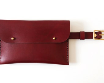 Leather Waist Pack / Fanny Pack / Leather / Hand-Stitched / Multi-use / For Her