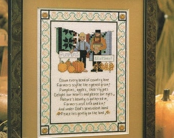 CROSS STITCH PATTERN - Pumpkin Harvest Cross Stitch Pattern - Harvest Sampler - Fall Sampler - Farmer Cross Stitch