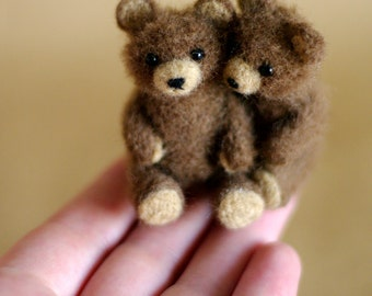 OOAK Needle felted teddy bear hug miniature brown original handmade soft sculpture / Made To Order / by SaniAmani