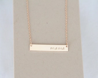 Bigger Gold Bar Necklace, 14kt Gold filled Bar Necklace, Initial necklace, Hand stamped, Gold Necklace, Nameplate Necklace, Bridesmaid Gift