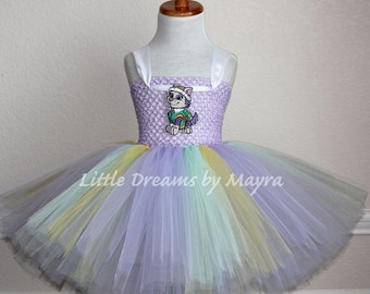 Everest Paw Patrol inspired tutu dress and matching bow, Paw Patrol Everest inspired costume size nb to 9years