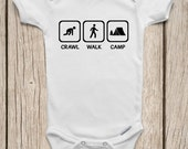 Crawl Walk Camp ONESIES ® Brand Bodysuits Baby Bodysuit or Baby T-Shirt Camping Baby Shower Gift Baby Camping Shirt Cute Baby Clothes