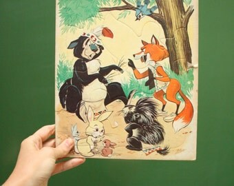 Vintage Children's Puzzle Woodland Creatures [Bear Fox Rabbit Skunk Retro Family Game Night Board Game 80s 90s] 11 inches by 9 inches