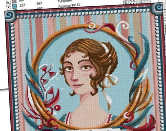 COUNTED STITCH pattern - Elizabeth Bennet - Jane Austen- Pride and Prejudice -PDF - Suitable for cross stitch and needlepoint