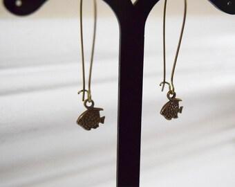 Cute Antique Bronze Fish Design Drop Earrings