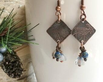 Moose Earrings - rustic jewelry - rustic earrings - nature inspired earrings - Moose jewelry - Woodland jewelry - Fall earrings