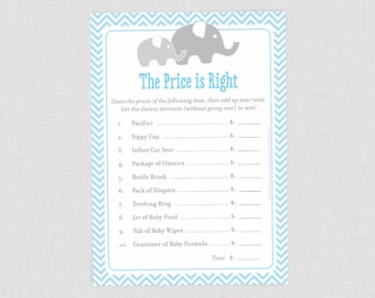 Elephant The Price is Right Baby Shower Game, Blue Little Peanut Baby Shower, Baby Boy Baby Shower Games, Grey Chevron, Simple Shower Games