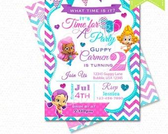 Bubble Guppies Invitation, Bubble Guppies Birthday Invitations, Photo Bubble Guppies Party Printables - Style  BGJ16- 1 - YOU PRINT