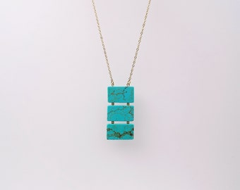 Long Turquoise necklace, Geometric necklace, Long Gemstone necklace, long statement necklace