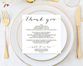 Wedding Thank You Cards - Wedding Reception - Editable Wedding Thank You - Place Setting Card - DIY - Minimal Elegance - Instant Download
