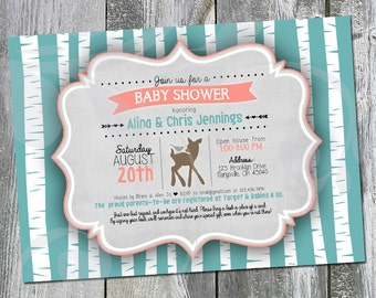 """Cute Little Deer Baby Shower Open House Invitation 