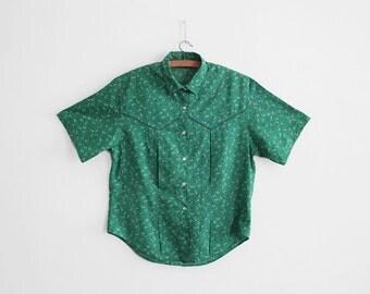 Vintage Cacharel Blouse - Flower print - Cotton - Summer Blouse - Size 8/10