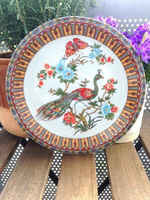 Vintage Collectable Japanese Peacock Plate
