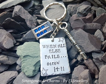 Hand Stamped Doctor Who 'Sonic Screwdriver' Aluminium Keychain, Dr Who, Tardis, Stamped Metal, Keyring, Metal Jewellery, Screw it, Geekery.