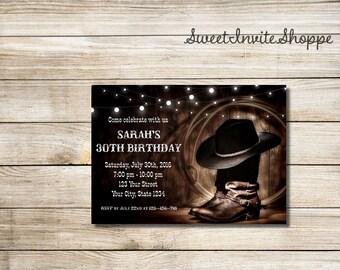 Western Birthday Invitation, Cowboy Boots Invitation, Rustic Cowboy Party Invitation, Country Cowgirl Birthday Invitation, Any Age Party