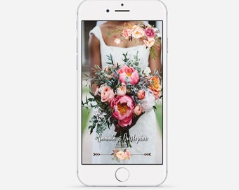 Wedding Snapchat Geofilter, Snapchat Geofilter, Boho Floral Snapchat Filter, Custom Wedding Geofilter, Roses Wedding Snapchat Filter