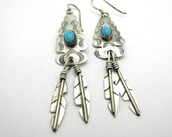 Turquoise Arrowhead Earrings with Feathers Navajo Sterling Silver