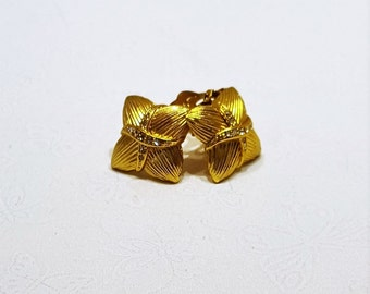 Vintage Square Gold Crystal Pave Clip On Earrings with Rhinestone Accents presented by Donellensvintage