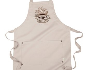 Coffee Apron, Server Apron, Barista Apron, Nothing Stands Between Me and My Coffee Embroidered 8 oz Organic Cotton, Recycled Polyester Apron