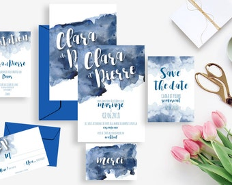 Printable wedding invitation + stationery kit: wedding invitation + rsvp, save the date, diner invitation, thank you card - Blue watercolor