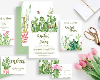 Printable wedding invitation + stationery kit wedding invitation rsvp save the date diner invitation thank you card Cactus Boho Palm Springs