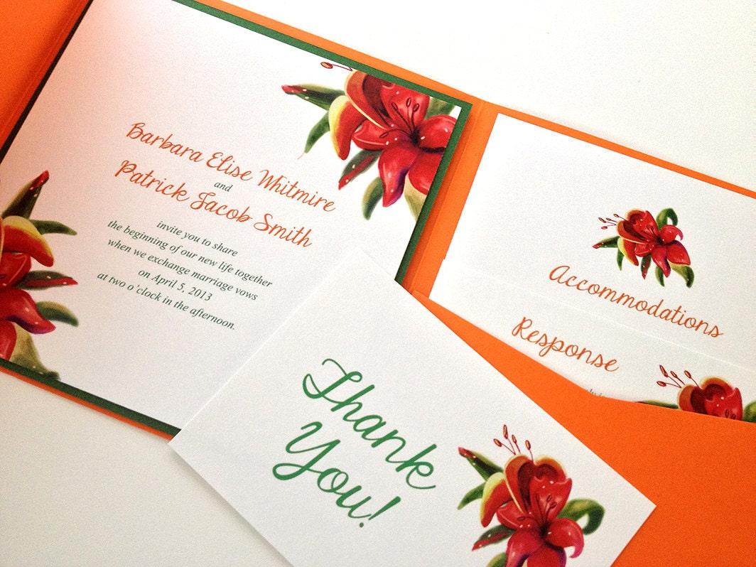 Pocket Folder Wedding Invitation Kits: Beach Wedding Pocketfold Invitation Set Tropical