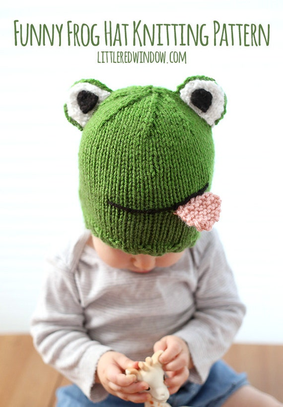 Funny Frog Hat Baby KNITTING PATTERN - knit frog hat pattern,  babies, infants, toddlers - sizes 0-3 months, 6 months, 12 months, 2T+