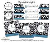 Etsy Banner Set - Bakery, Cake - Black, White- Premade Complete Basic or Mini Sets Available - Banner, Listing Graphics, Shop Icon, Avatar