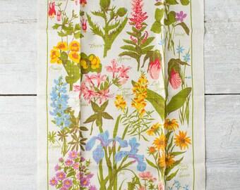 Vintage Kitchen Linen Towel -- American Wildflowers Tea Towel -- Floral Kitchen Dish Towel -- Floral Kitchen Decor