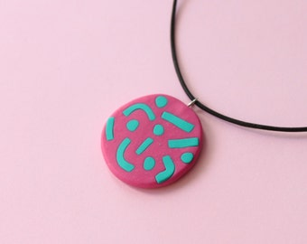 Squiggle Necklace - Blue on Pink