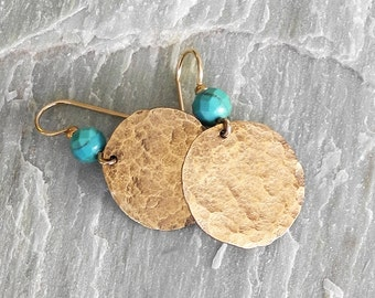 Hammered Gold Earrings with Faceted Turquoise - Textured Gold Discs - Gold and Turquoise Earrings - Hammered Gold - Roca Jewelry Designs