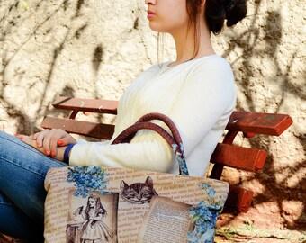 Alice in Wonderland Handbag, Alice Bag, Wonderland Bag, Alice in Wonderland Bag, Alice Purse, Literary Gift, Bookworm Gift Ideas, Book Lover