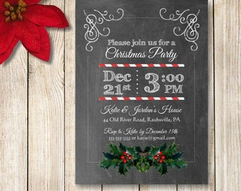 Printable Christmas Party Invitation, Chalkboard Holiday Invite, Chalkboard Christmas Invitions, DIY Christmas Invitation