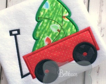 Wagon applique - Christmas Tree Applique - Wagon Embroidery - Christmas Tree Embroidery - Christmas Applique - Holiday Applique
