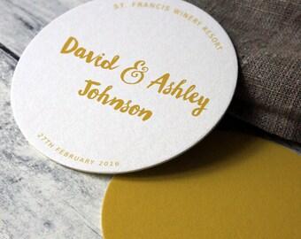10 x Mustard Wedding Coasters, Table Decor, Table Setting, Wedding Decoration, Wedding Reception, Wedding Decor, Reception Decor