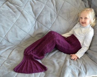 KNITTING PATTERN PDF Little Mermaid Tail - Mermaid Blanket pattern - Sizes newborn - 12 yrs - knit mermaid