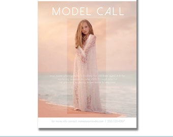INSTANT DOWNLOAD, Model Call Portrait Marketing Template for Photographers, Modern Design, Searching for Senior Models, Child, Senior