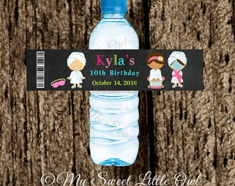 Pink spa water label - spa birthday party - spa printable - spa baby shower - spa sticker - spa chalkboard water label