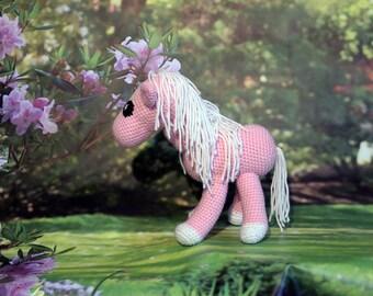 Pink Horse Stuffed Animal, Crochet Amigurumi Plush Toy