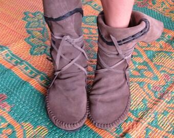 Grey suede moccasins