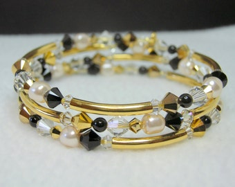 Black and Clear Crystal Memory Wire Bracelet